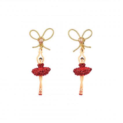 Boucles D'oreilles Clip Boucles D'oreille Clip Ballerine Asymétriques Tutu Pavé De Strass Rouges110,00€ AADDL108C/1Les Néréides