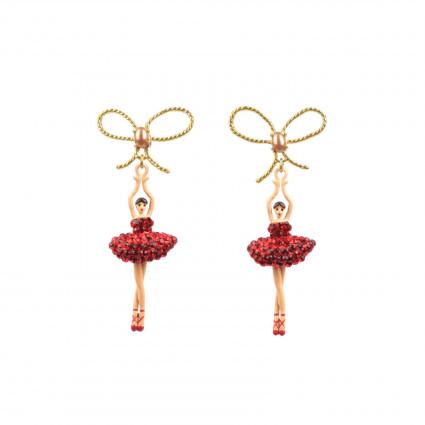 Boucles D'oreilles Pendantes Boucles D'oreille Ballerine Asymétriques Tutu Pavé De Strass Rouges110,00€ AADDL108T/1Les Néréides