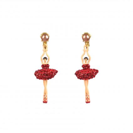 Boucles D'oreilles Clip Boucles D'oreille Clip Ballerine Sur Pointe Tutu Pavé De Strass Rouges110,00€ AADDL115C/1Les Néréides