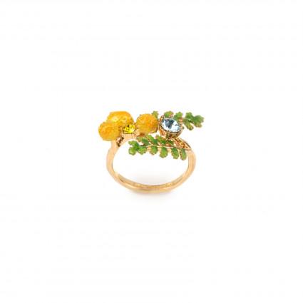 Bagues Ajustables Bague ajustable double fougères et fleurs de mimosa90,00€ ABJP602/1Les Néréides