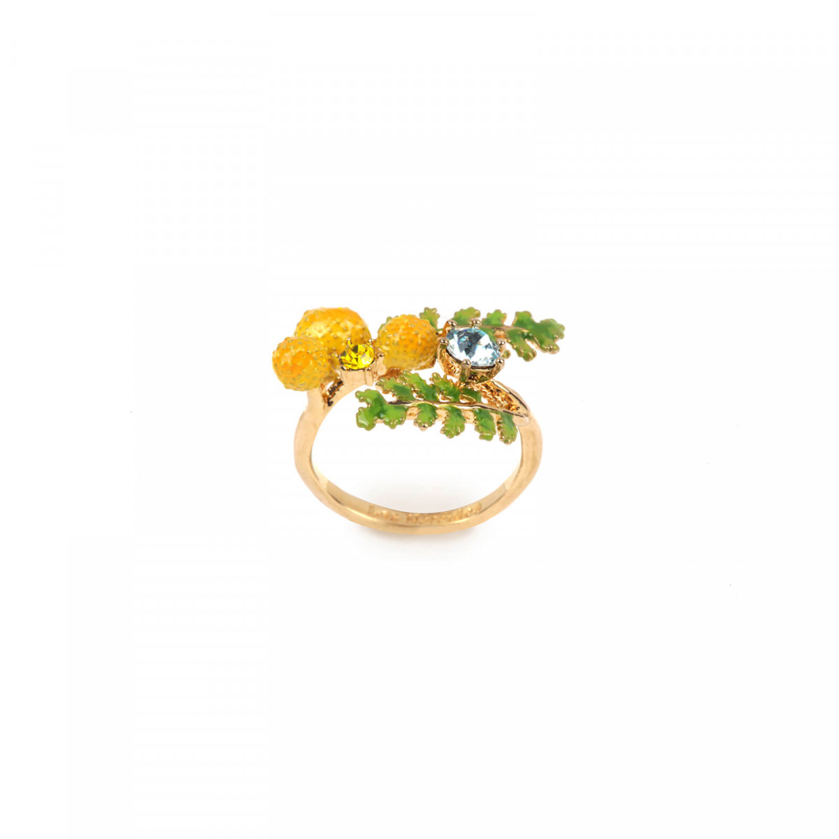 Rabbit's family and faceted glass adjustable ring