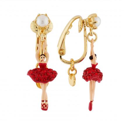 Silvered asymmetrical ballerina earrings