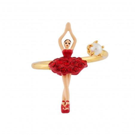 Sparkling pink ballerina and charms bracelet