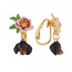 Boucles D'oreilles Clip Boucles D'oreilles Clip Tête De Teckel Et Petite Fleur90,00€ AILA101C/1Les Néréides