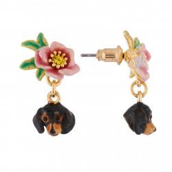Boucles D'oreilles Pendantes Boucles D'oreilles Tête De Teckel Et Petite Fleur90,00€ AILA101T/1Les Néréides