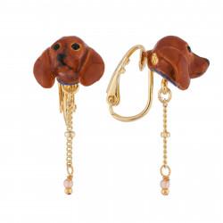Boucles D'oreilles Clip Boucles D'oreilles Clip Petite Tête De Teckel Et Chaîne70,00€ AILA103C/1Les Néréides