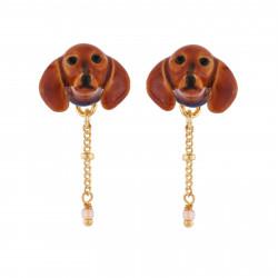 Boucles D'oreilles Tiges Boucles D'oreilles Petite Tête De Teckel Et Chaîne70,00€ AILA103T/1Les Néréides
