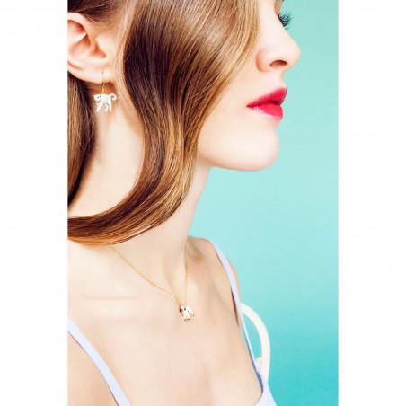Boucles d'oreilles double pierre carrée rouge vermillon