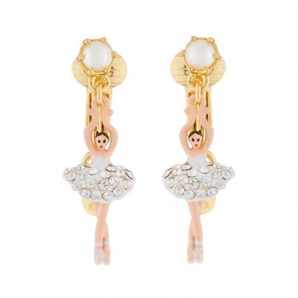 Boucles D'oreilles Clip Boucles D'oreilles Clips Mini Ballerine Blanche Strass Et Perles80,00€ AJMDD101C/10Les Néréides