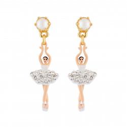 Boucles D'oreilles Pendantes Boucles d'oreilles tiges mini ballerine blanche strass et perles80,00€ AJMDD101T/10Les Néréides