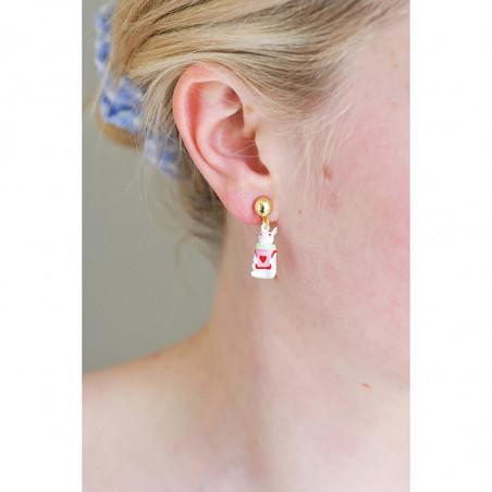 Vermilion red round stone necklace