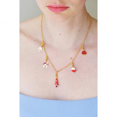 Collier luxe ras de cou pierres rondes rouge vermillon