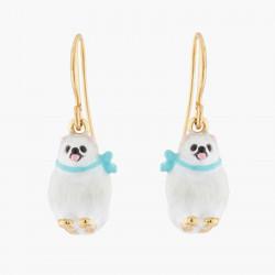 White Pomeranian Hook Earrings