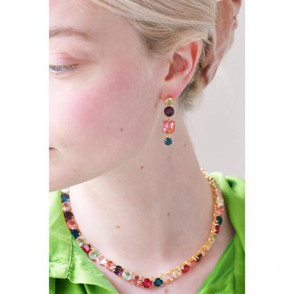 Boucles d'oreilles feuille dorée et grappe de perles roses