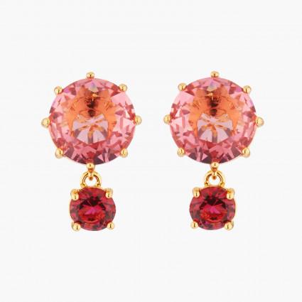 Boucles D'oreilles Pendantes Boucles D'oreilles Tiges Pierres Rondes Rose Et Rouge La Diamantine Multicolore60,00€ AKLD126T/...