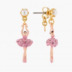 Boucles D'oreilles Pendantes Boucles D'oreilles Tiges Mini Ballerine Sur Pointe Cristaux Roses80,00€ AKMDD101T/10Les Néréides