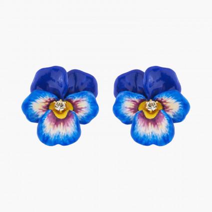 Boucles D'oreilles Clip Boucles D'oreilles Clips Pensée Bleue Et Cristal120,00€ AKMP103C/1Les Néréides