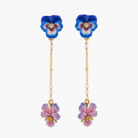 Collier fleur rose et strass turquoise