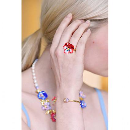 Boucles d'oreilles clip colibri et verre taillé