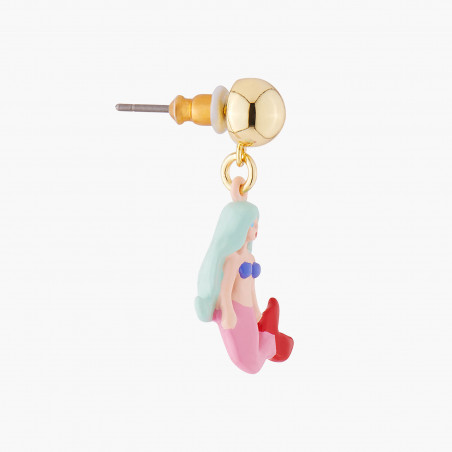 Boucles d'oreilles clip serpent des mers et bouton de rose sur pierre reconstituée