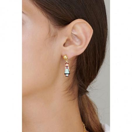 Boucles d'oreilles clip marguerite, petites fraises et verre taillé