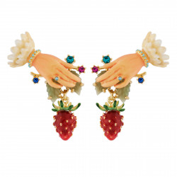 Hand And Strawberry Earrings