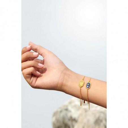 Bracelet jonc poisson, anémone et coraux sur verre taillé bleu