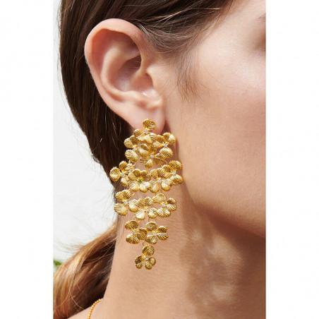 Boucles d'oreilles fleur rose, strass turquoise, chaînes et pampilles