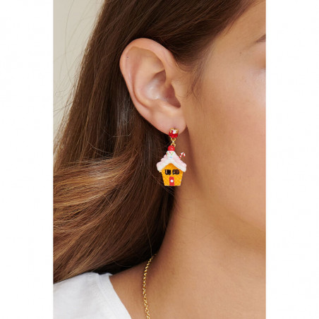 Fish, crab's pincer and corals on pink faceted glass clip earrings