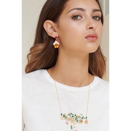 Boucles d'oreilles fleur rose pâle, verre taillé et petites baies
