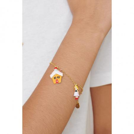 Boucles d'oreilles clip fleur rose pâle, abeille et petites pampilles