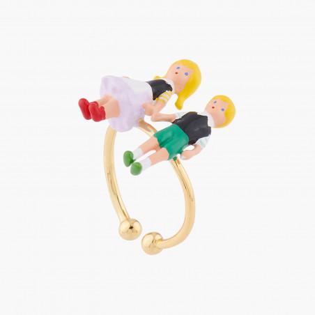 Bracelet perlé verre taillé, fleur rose et petites baies