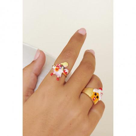 Sautoir fleurs rose et jaune sur feuillage, verre taillé et pampilles