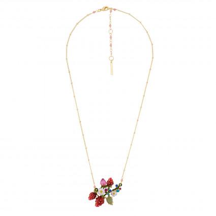 Colliers Pendentifs Colliers Fraises, Fleurs Blanches Et Branche En Feuilles
