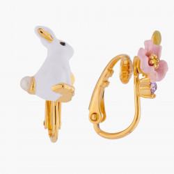 Boucles D'oreilles Clip Boucles d'oreilles asymétriques clips lapin et fleur rose90,00€ ALRE102C/1Les Néréides