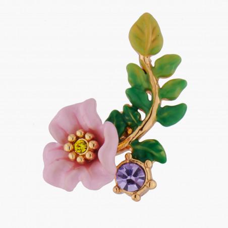 Collier petit lapin sur verre taillé, fleurs et pampilles