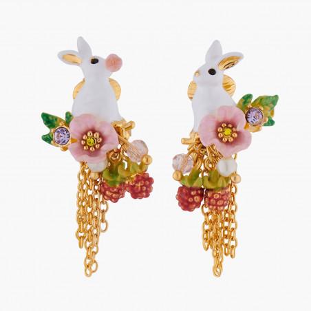 Bracelet 3 lapins, fleurs et pampilles