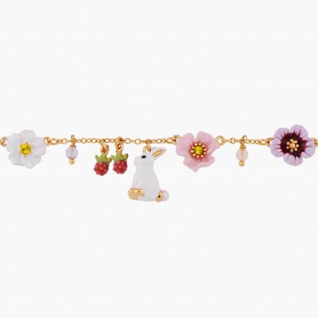 Bracelet cordon petit chat blanc et pampilles
