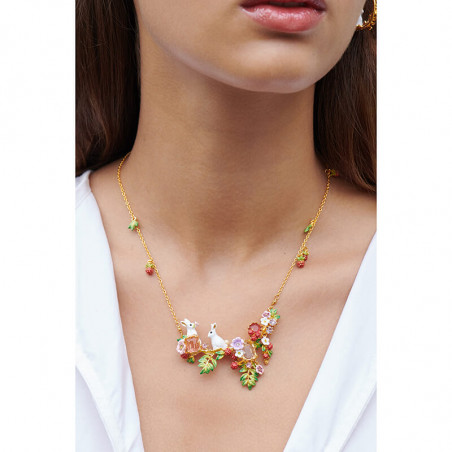 Cat and kittens on flowered and fruity branch couture necklace