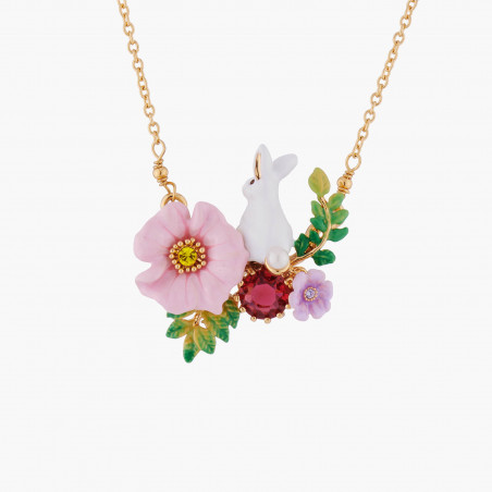 Cats on flowered and fruity branch necklace