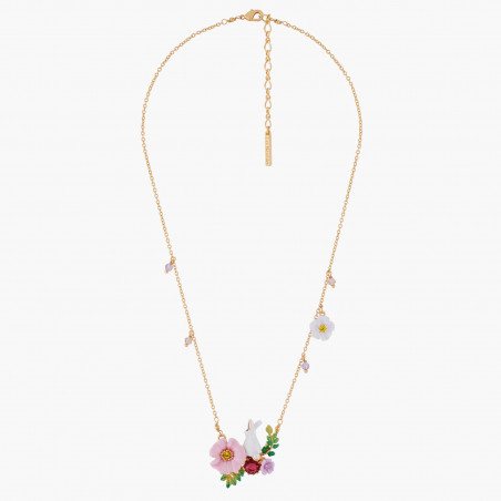 Playful cat on flowered branch necklace