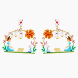 Boucles D'oreilles Originales Créoles tiges teatime alice et lapin blanc90,00€ AMAL102T/1N2 by Les Néréides