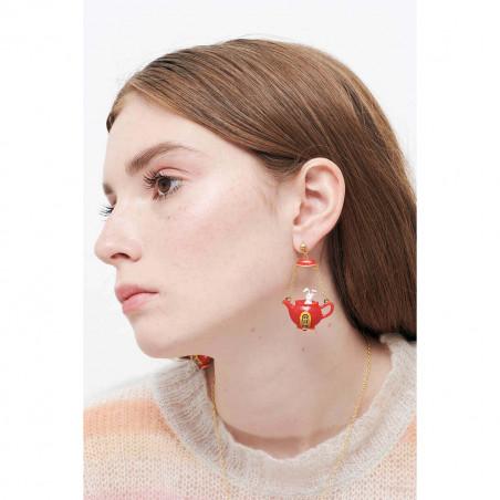 Boucles d'oreilles clip double pierre carrée rouge vermillon