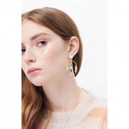 Boucles d'oreilles clip 4 pierres rouge vermillon