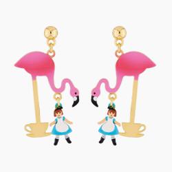 Boucles D'oreilles Originales Boucles d'oreilles tiges teatime alice et flamant rose70,00€ AMAL106T/1N2 by Les Néréides