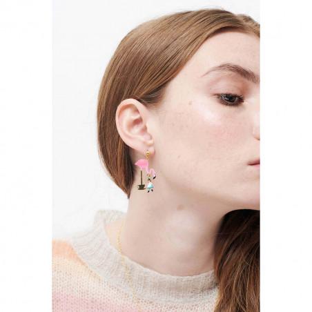 Boucles d'oreilles inséparables sur feuillage, chaînes et pampilles