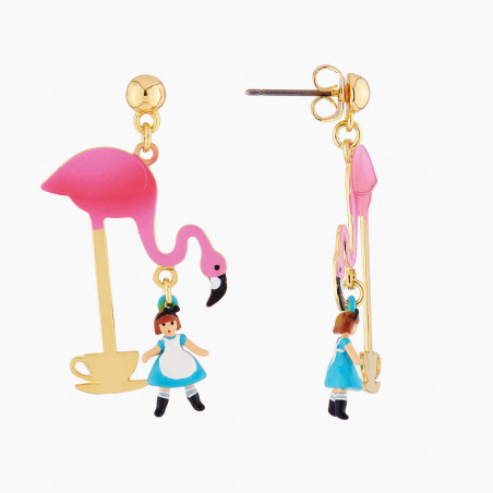 Lovebird and pearly removable clasp earrings