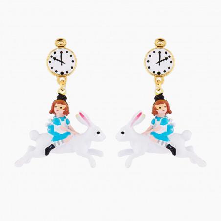 Boucles d'oreilles clip nœoeud et ballerine au tutu pavé de strass turquoise mat
