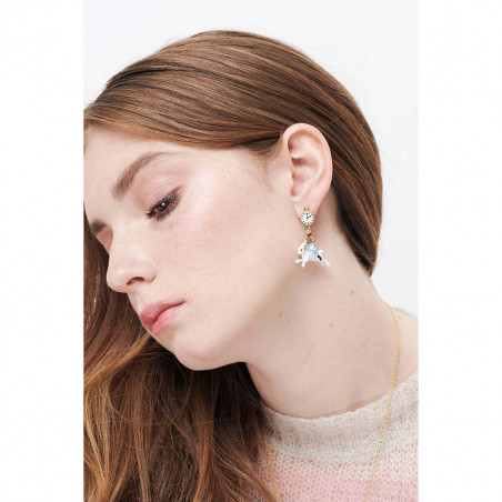 Ballerina paved with turquoise blue matt crystals and knot earrings