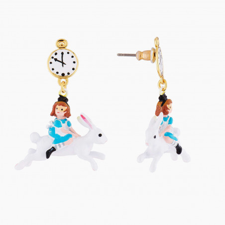Toe-dancing ballerina paved with turquoise blue matt crystals clip earrings